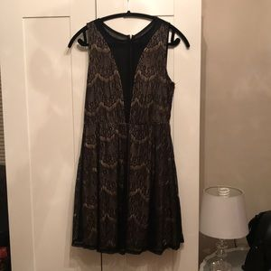 Black Lace Dress with Sheer Paneling